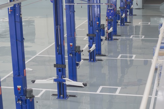 industrial epoxy application in a warehouse